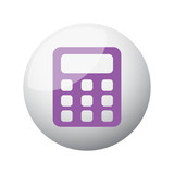 Flat purple Calculator icon on 3d sphere