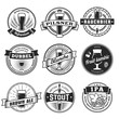 Постер, плакат: Craft beer labels Traditional german belgian and british beer styles Weissbier pilsner rauchbier dubbel blanche fruit lambic brown ale stout and IPA Vintage craft beer emblems