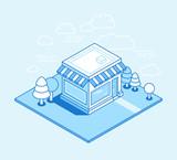 Fototapety Vector shop building isometric illustration