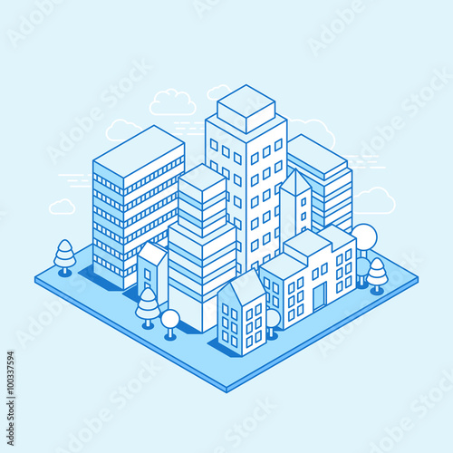 Deurstickers Lichtblauw Vector city landscape isometric illustration