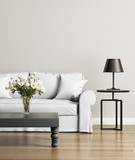 Fototapety Contemporary elegant white living room with black table lamp
