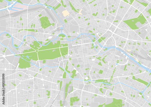 Poster vector city map of Berlin, Germany