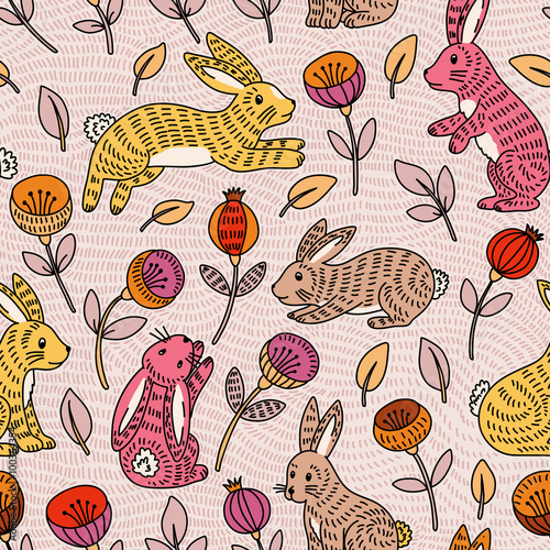 Cotton fabric Vector seamless pattern with cute colorful bunny and flowers