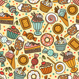 Fototapety Seamless pattern with candies and sweets