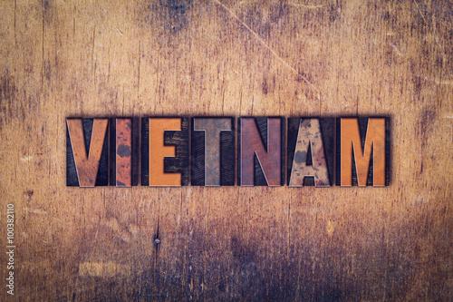 Vietnam Concept Wooden Letterpress Type Poster