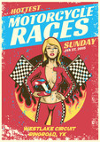 sexy girl in motorcycle race event poster in grunge textured style