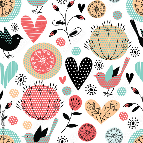 Cotton fabric Romantic vector seamless pattern