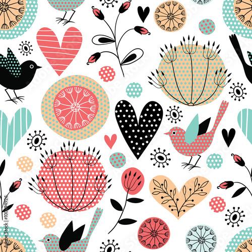 Cotton fabric Romantic vector seamless pattern