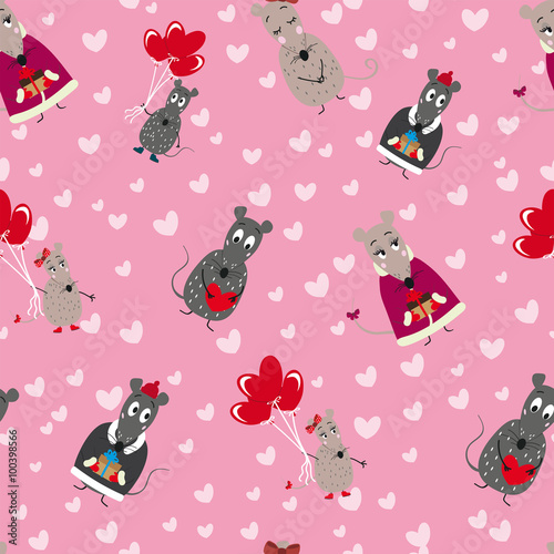 Cotton fabric Vector seamless pattern with mice