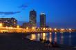 Obrazy na płótnie, fototapety, zdjęcia, fotoobrazy drukowane : Somorrostro Beach  in summer twilight. Barcelona