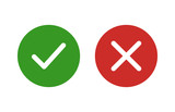 Fototapety checkmark and x or confirm and deny flat color icon for apps and websites.