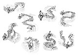 Musical notes and treble clefs on wavy staves