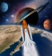 Shuttle rocket ship launch milky way galaxy saturn planet moon space. Elements of this image furnished by NASA.