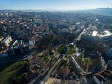 Aerial View of Rotunda da Boavista, also known as the Praça de Mouzinho de Albuquerque, is a large roundabout in Porto, Portugal