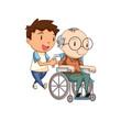 Child caring old man