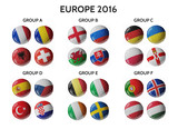 Set of Europe soccer balls