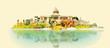 vector watercolor CUBA city illustration