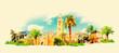 vector watercolor MARRAKESH city illustration