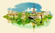 vector watercolor PARIS city illustration