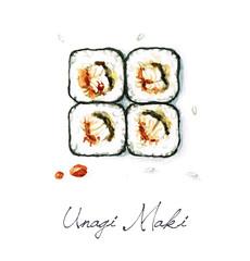 Watercolor Food Painting - Unagi Maki