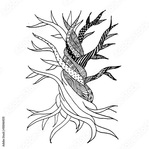 Naklejka Abstract old tree with roots, zen doodle for your design