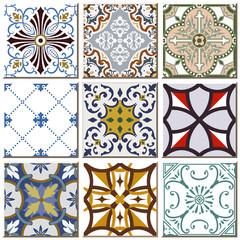 Vintage retro ceramic tile pattern set collection 013