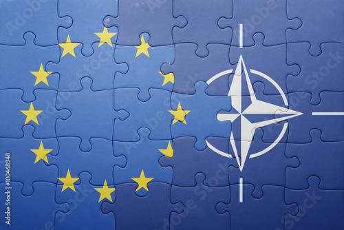 Poster puzzle with the national flag of european union and nato