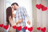 Composite image of young couple kiss as they open front door