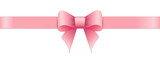 Pink bow on white background. Valentines day.
