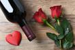 Wine Bottle Roses Heart