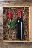 Red Rose Wine Bottle Box