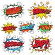 Comic speech bubbles set, comic wording sound effect set design for comic background, comic strip
