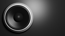 Speaker, isolated on black background with copy-space