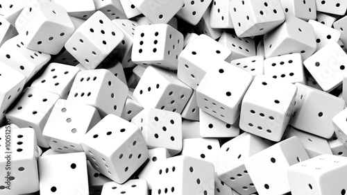 Fototapety, obrazy : Abstract conceptual background with pile of random white dices, top view.