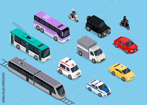 Isometric 3d Transport Set Flat Design