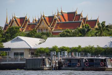 Bangkok, Thailand - November 09, 2015: view from tourists boats on Chao Phraya river