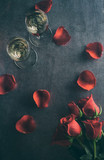 Valentine: Champagne Glasses With Roses And Petals - 100529578
