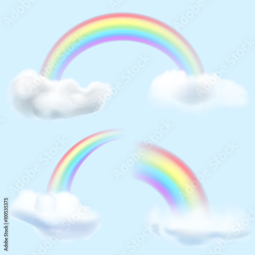 Set of transparent rainbows with clouds. Transparency only in vector format