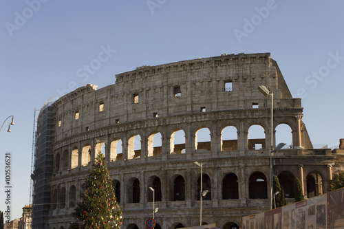 In de dag Milan The Colosseum in Rome with a Christmas Tree on its side