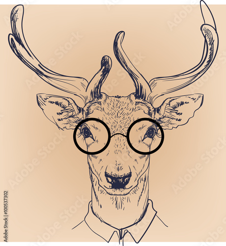 hipster portrait of deer with glasses