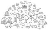 Fototapety Family life set, black and white outline