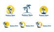 sun, palm, landscape, travel, tour, vector logo design 6