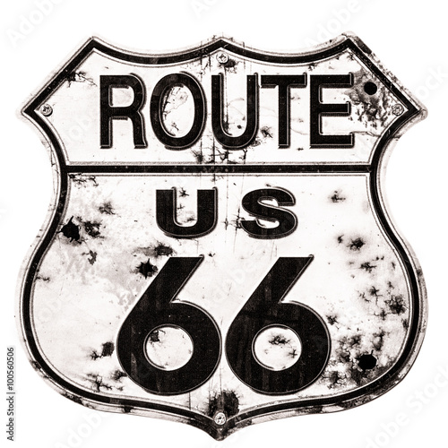 Spoed canvasdoek 2cm dik Route 66 Old rusted Route 66 Sign