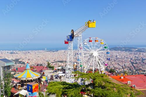 Tuinposter Amusementspark Barcelona Tibidabo Freizeitpark