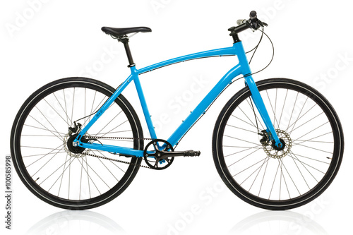 Poster New blue bicycle isolated on a white