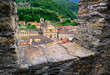 Bellinzona, Switzerland, view through the castle walls to the ol
