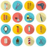 Flat Design Hairdressing Icons Set 16.