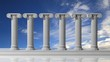 Six ancient pillars with bluet sky background.