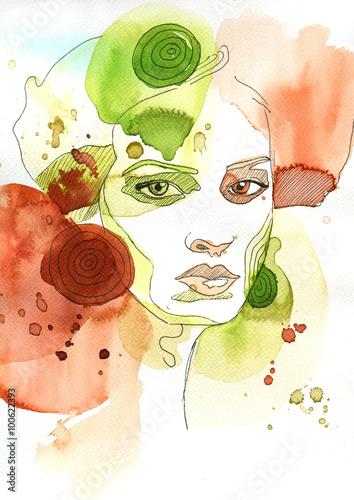Spoed canvasdoek 2cm dik Schilderkunstige Inspiratie Akwarelowy portret kobiety