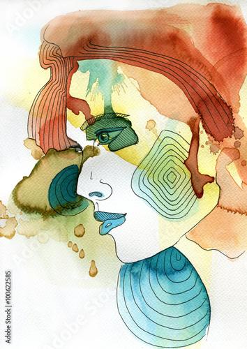 Akwarelowy portret kobiety